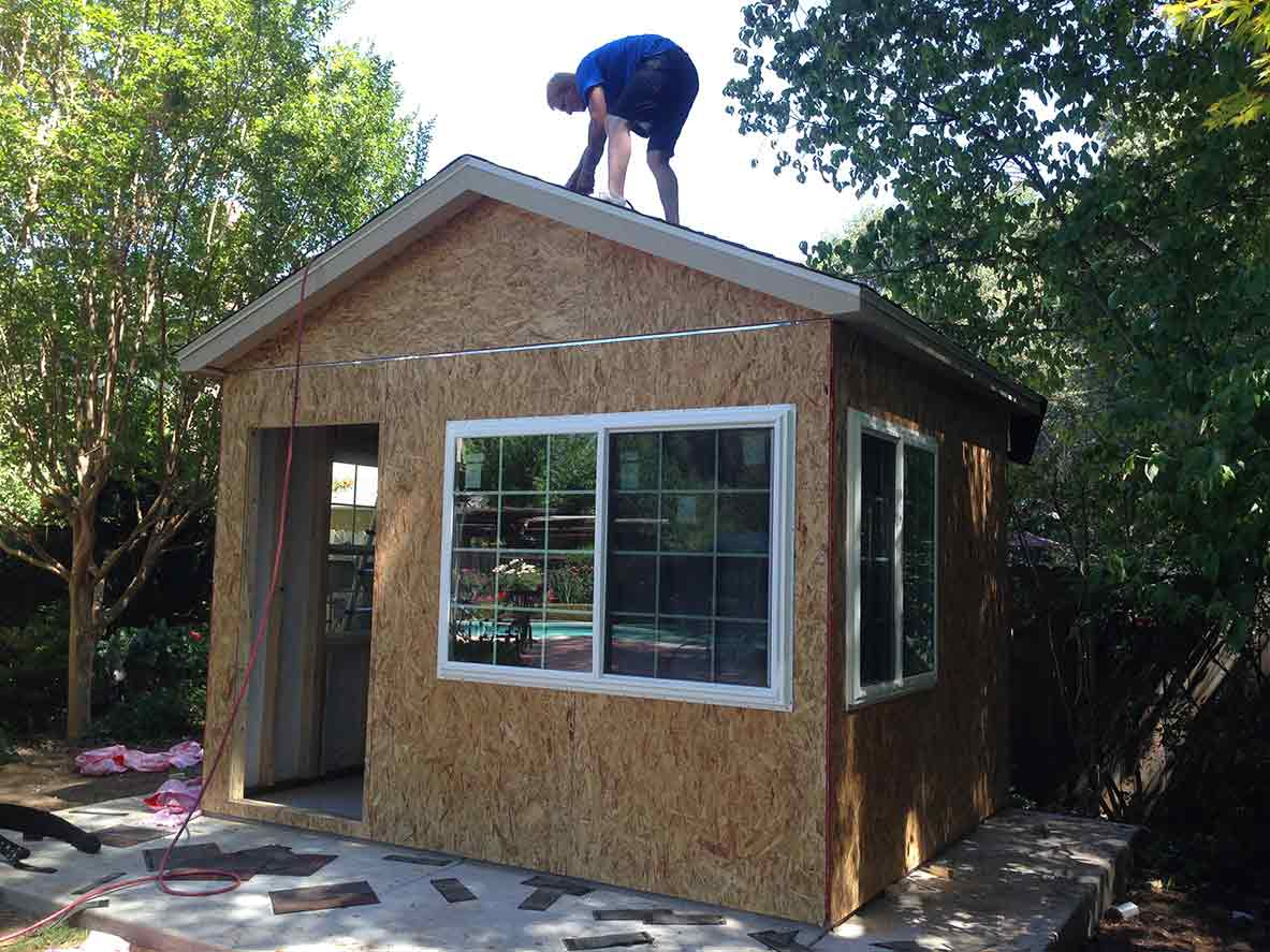 Down To Business With This Backyard Office Tuff Shed Outdoor Electrical Supply Garage Garden Electrics Power Sheds For A Man Who Spends 45 50 Hours Week Working At Home John Wanted More Than He Something Personal And Thats Exactly What We Helped Him