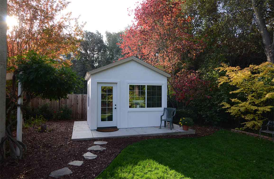 Down to business with this backyard office tuff shed for Outside office shed