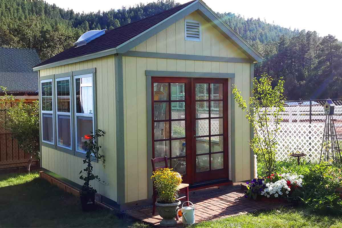 Her country french garden getaway tuff shed for Two story garages for sale