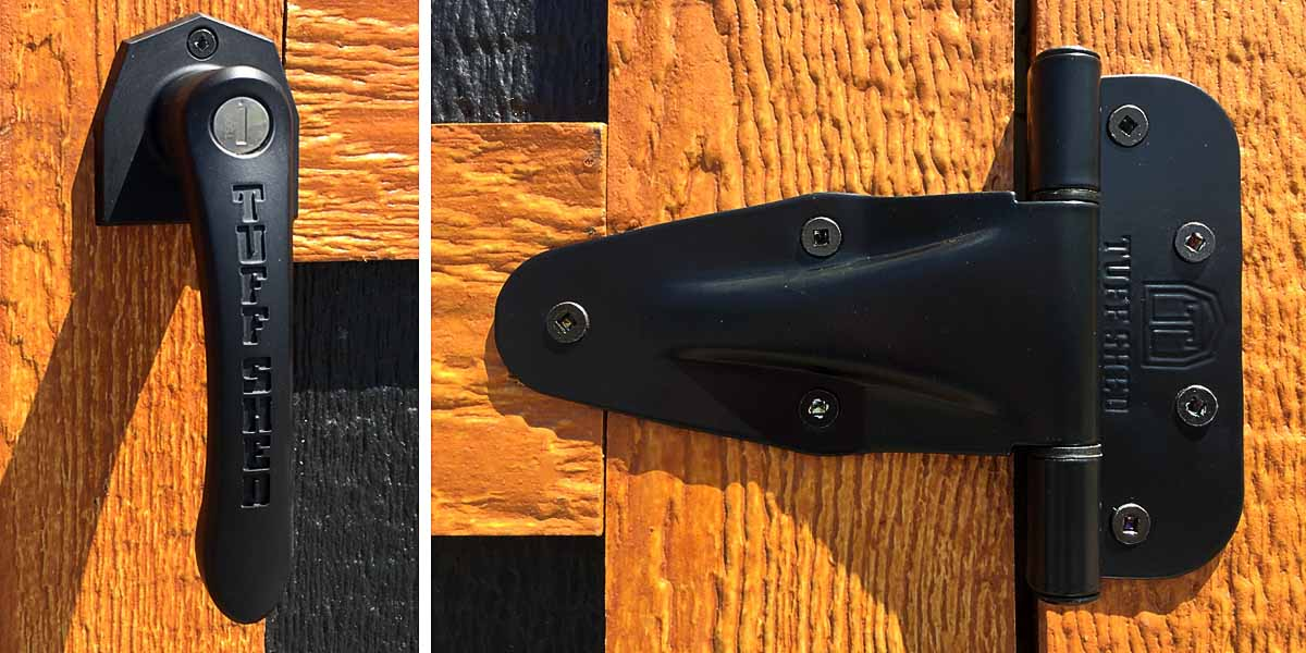 Black Hardware and Cedar Stain