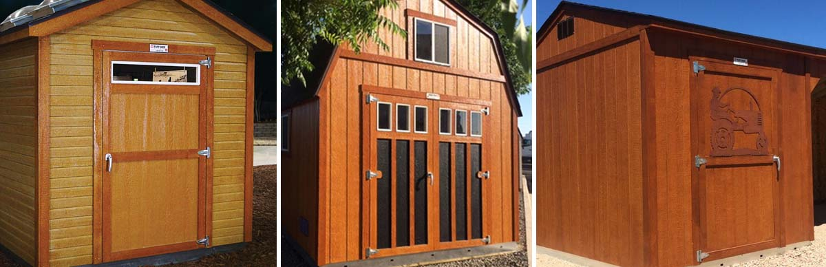 Three examples of cedar stain on our buildings.