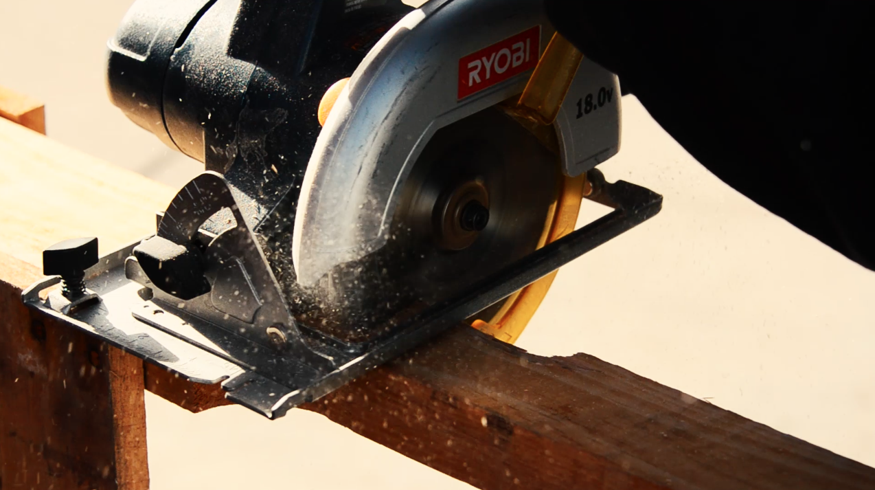 Once the space on the pallet is cleared you can begin cutting with the circular saw.