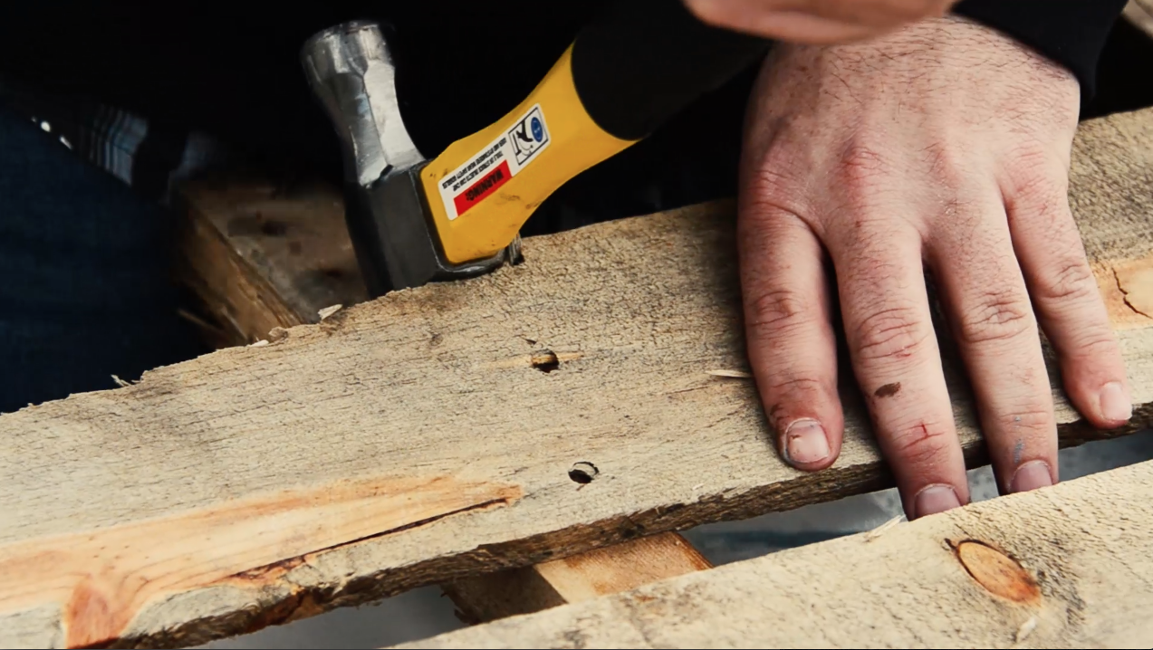 Remove the extra panels of the pallet where you'll be cutting with the circular saw.