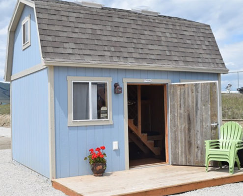 The Bunkhouse with the reclaimed wood door.