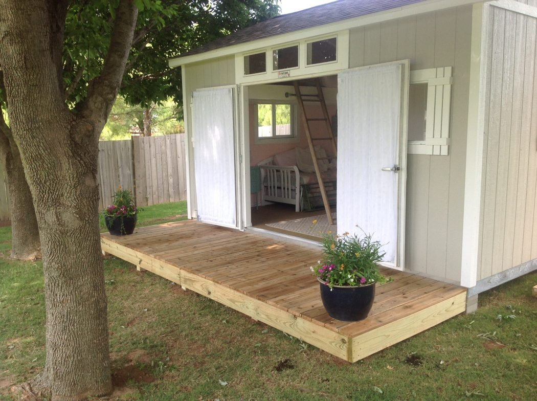Shabby chic meets the backyard shed tuff shed for Backyard garages