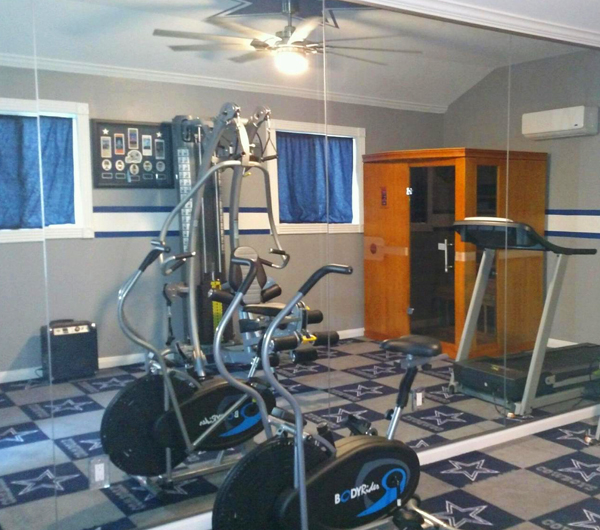 Choose multipurpose equipment to save space inside your home gym.