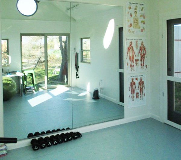 Add mirrors and extra windows to your home gym.