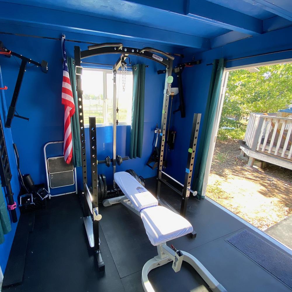 Extra sunlight inside Chris' home gym shed.
